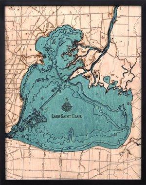 "Lake St. Clair, Michigan 3-D Nautical Wood Chart, Large, 24.5"" x31"" CLAI-D3L"